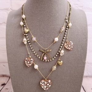 Betsey Johnson Vintage Layered Hearts Necklace